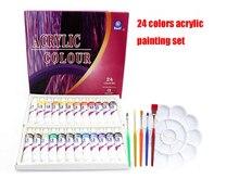 Водостойкие 24 Цвета 12 мл трубы Акриловые Краски комплект цвет с 5 кисть палитра Книги по искусству Краски ING краски ткань рисунок комплект