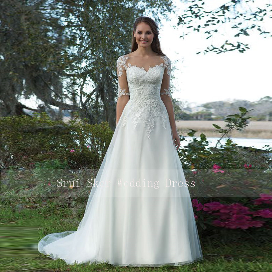 A-Line-Gown Wedding-Dress Organza Beautiful Satin Illusion-Sleeves Lace Custom-Made Appliques