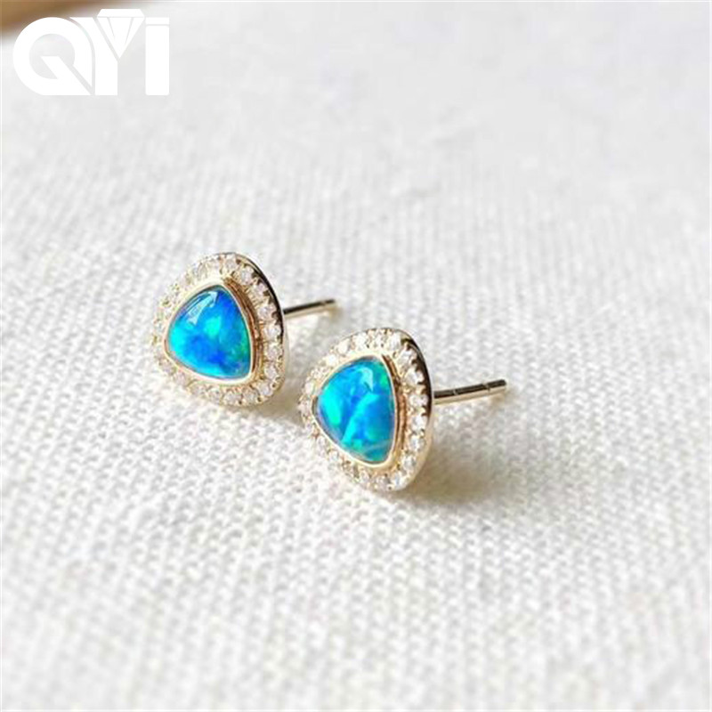 QYI Stud Earrings For Woman 18K Yellow Gold Real Natural Blue Opal Real Diamonds Earrings Girl Wedding Engagement Party Giaft