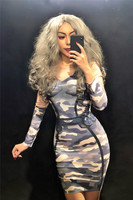2019 Women New Sexy 3D Printing Camouflage Pattern Dress Lady Evening Party Dresses Prom Birthday Celebrate Outfit Free Shipping