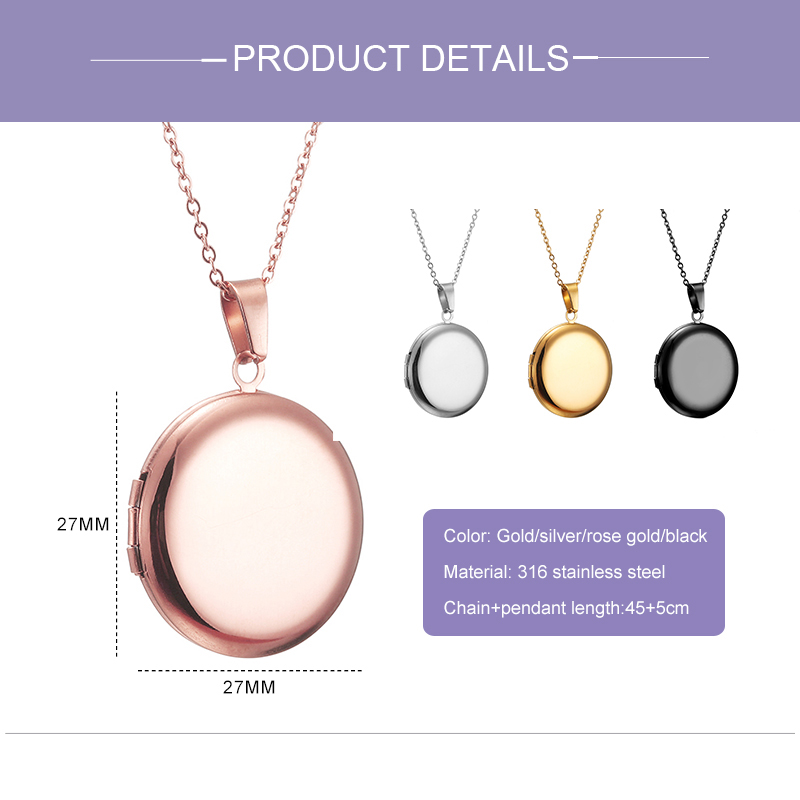 Custom Photo Pendant Necklace Personalized Letter Open Locket Round Necklaces for Women Nameplate Couple Family Mom Gift
