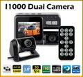 I1000 Dual Lens mini DVR Carro Gravador de Câmera Full HD G-Sensor de 1080 P 30FPS H.264 2.0 ''LCD 120 graus Cam Dinheiro gravador