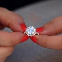 3,5 carat ct 9,5 мм круглый разрез обручение и свадебные Муассанит алмаз двойное кольцо Halo Кольцо Подлинная 14 к 585 Белое золото для женщин