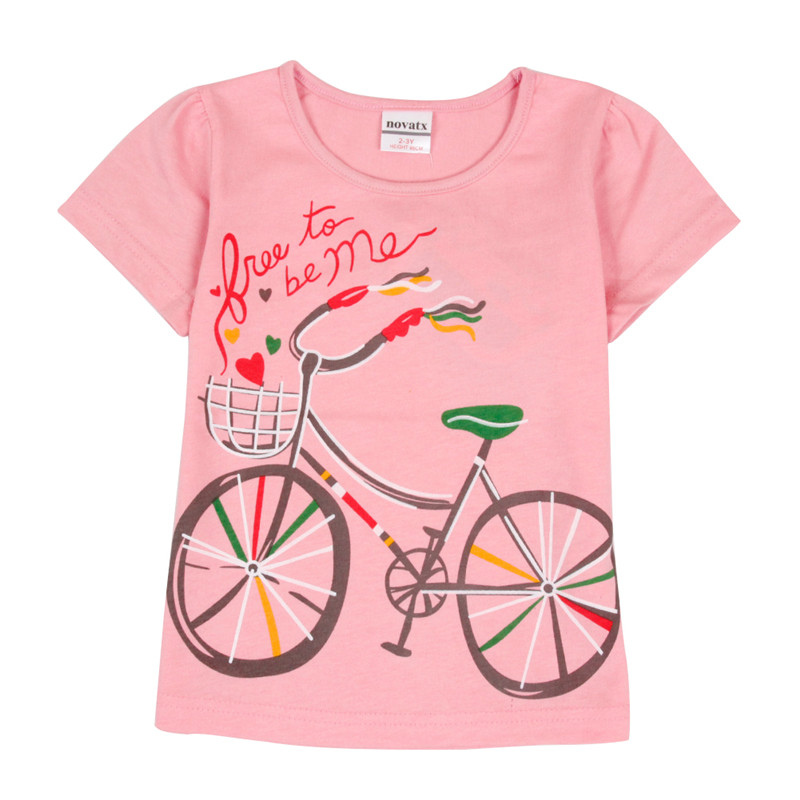 T-shirts for girls nova new children clothes kids cartoon horse tees short sleeves summer baby girls sweatshirts tops K6933