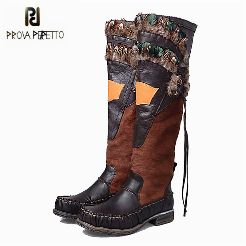Prova Perfetto Chicken Feather Decor Women Knee High Boots Winter Warm Botas Mujer Side Zip Genuine Leather Platform Long Boot prova perfetto winter women warm snow boots buckle straps genuine leather round toe low heel fur boots mid calf botas mujer