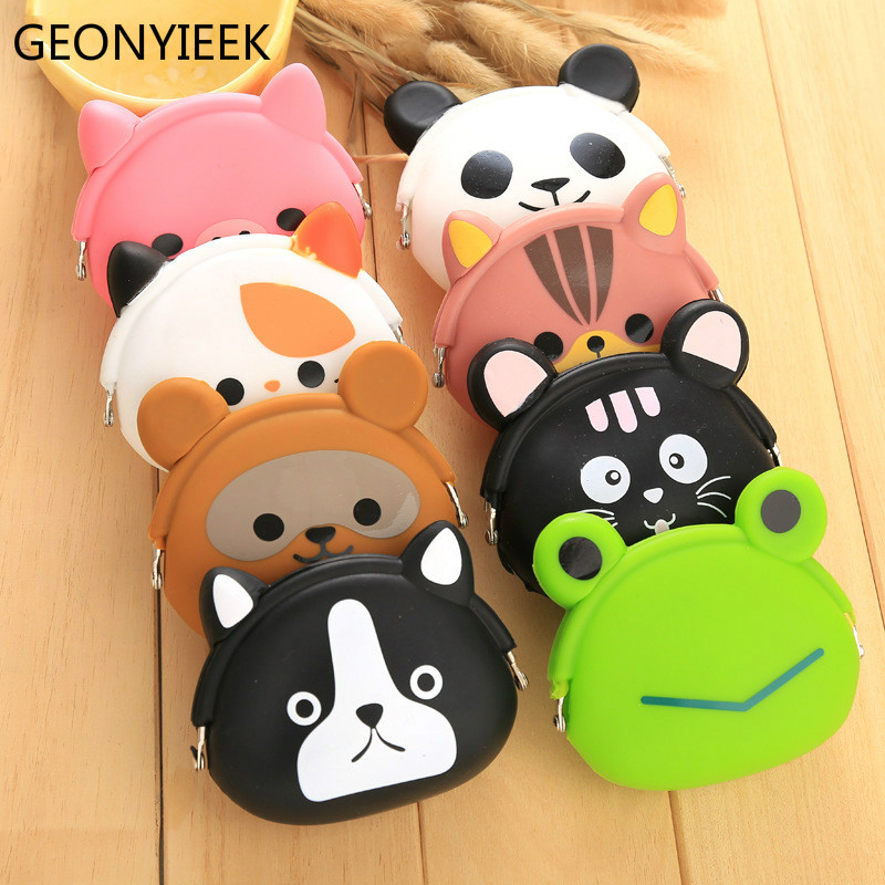 2018 New Fashion Lovely Kawaii Candy Color Cartoon Animal Women Girls Wallet Multicolor Jelly Silicone Coin Bag Purse Kid Gift