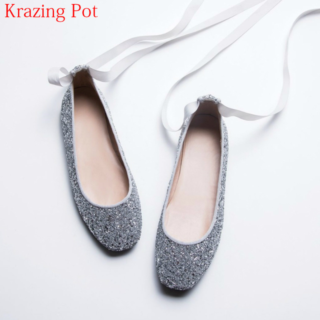 4588a57f0f 2018 Fashion Gladiator Round Toe Shallow Sweet Sequined Colth Dance Ballet  Flats Ankle Strap Lace Up Casual Driving Shoes L12