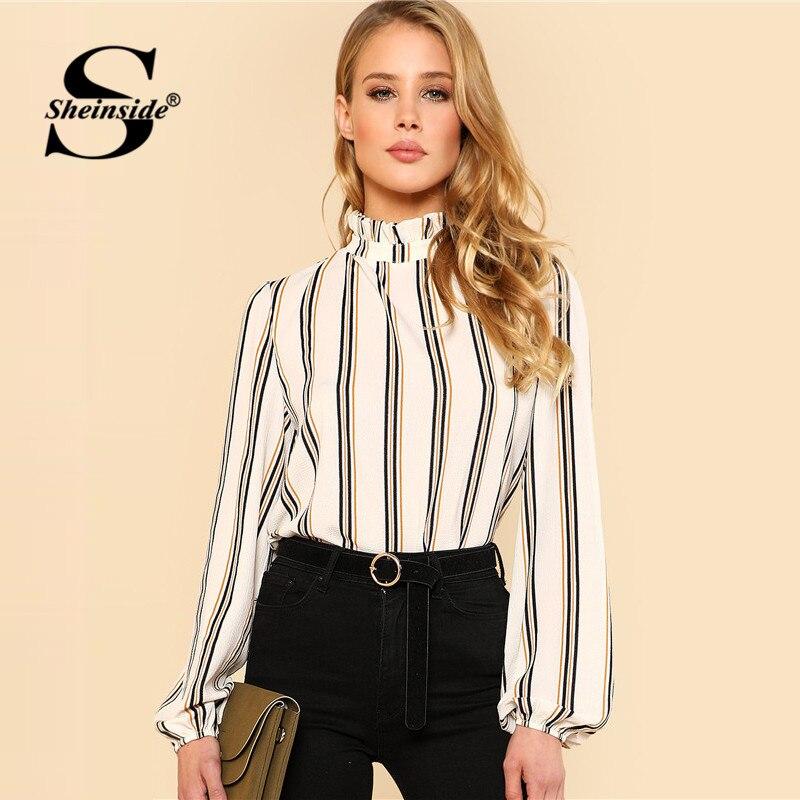 Sheinside Weiß Gestreiften Stehkragen Elegante Tops Büro Damen Arbeitskleidung Langarm Regelmäßige Fit Frauen Herbst Blusen
