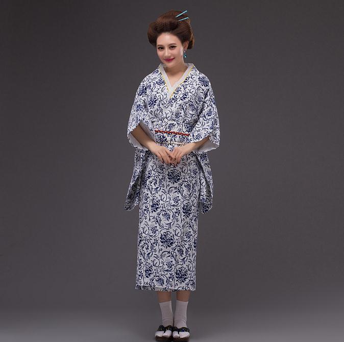 Kimono coton femme bleu et blanc Yukata avec Obi robe de soirée Style japonais Performance robe de danse fleur taille unique NK013