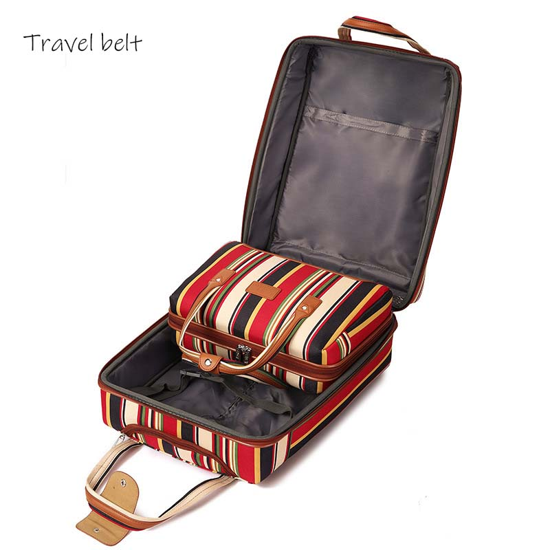 Image 5 - Travel Belt 20 inch oxford Rolling Luggage set Spinner Women Brand Suitcase Wheels stripe Carry On Travel Bags-in Rolling Luggage from Luggage & Bags