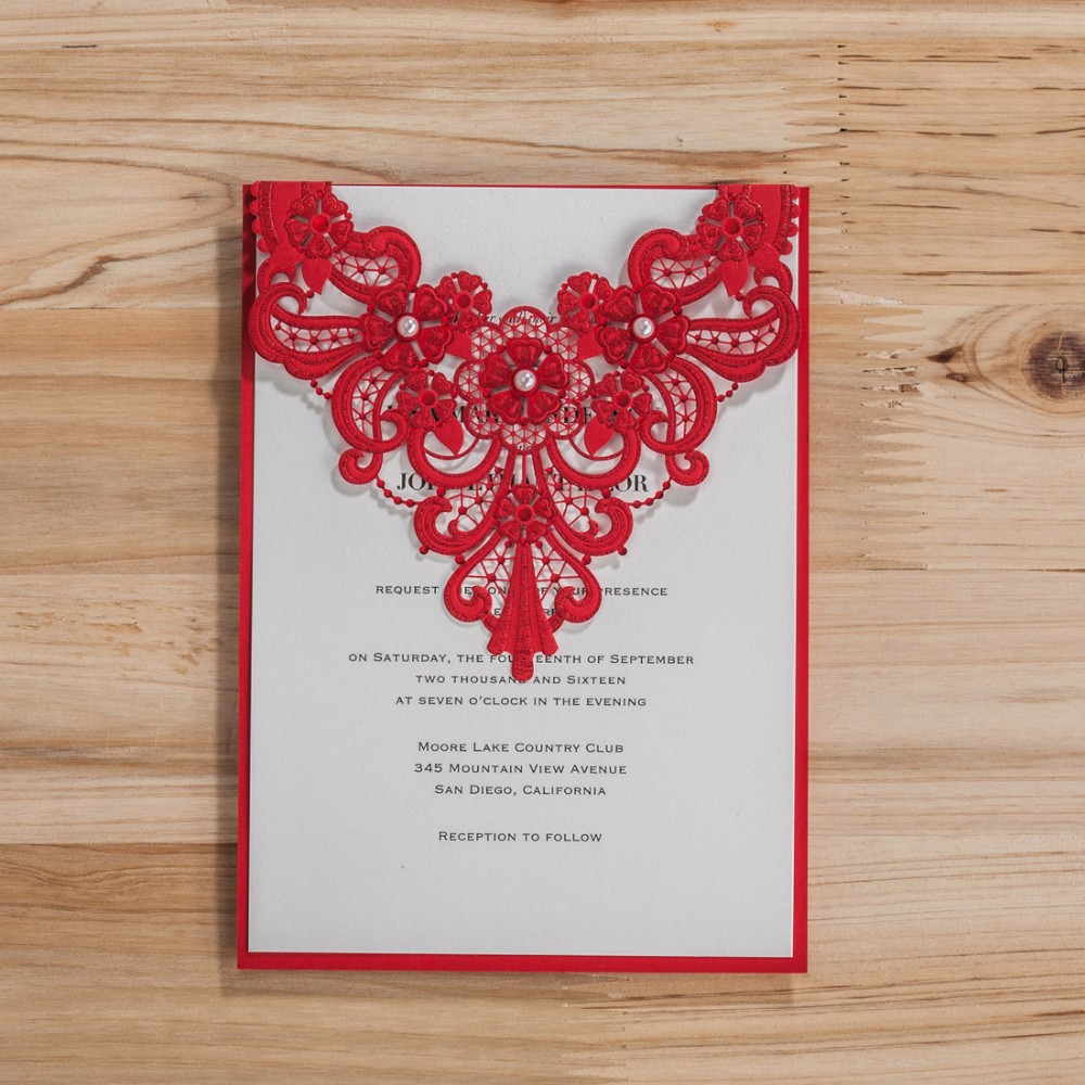 Laser Cut Wedding Invitations with Pearl Engagement Floral Birthday ...