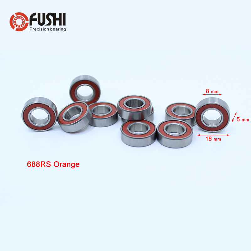 688-2RS Bearing ABEC-3 10PCS 8x16x5 mm Miniature 688RS Ball Bearings 618/8RS Z3V3 Orange Sealed Bearing 688 2RS 683zz bearing abec 7 10pcs 3x7x3 mm miniature 683 zz ball bearings 618 3zz emq z3v3 high quality