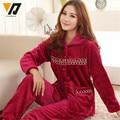 Feminino Pijamas Women Flannel Nightwear Onesie Pajamas Sets House Suit Furnishing Fuchsia L-XXXL