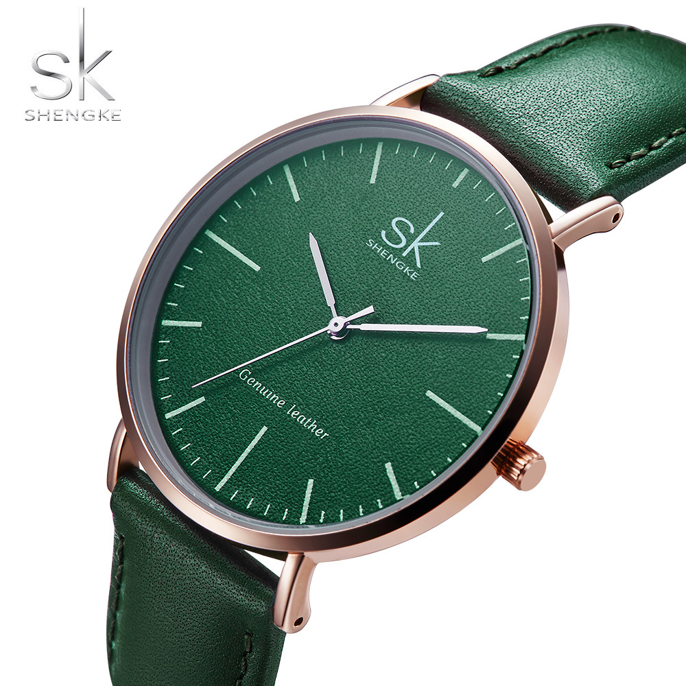 2018 Simple Designer Green Leather Women Watches Gifts Top Brand SK Female Clock Casual Ladies Women Quartz Wristwatch Reloj New mint green casual sleeveless hooded top