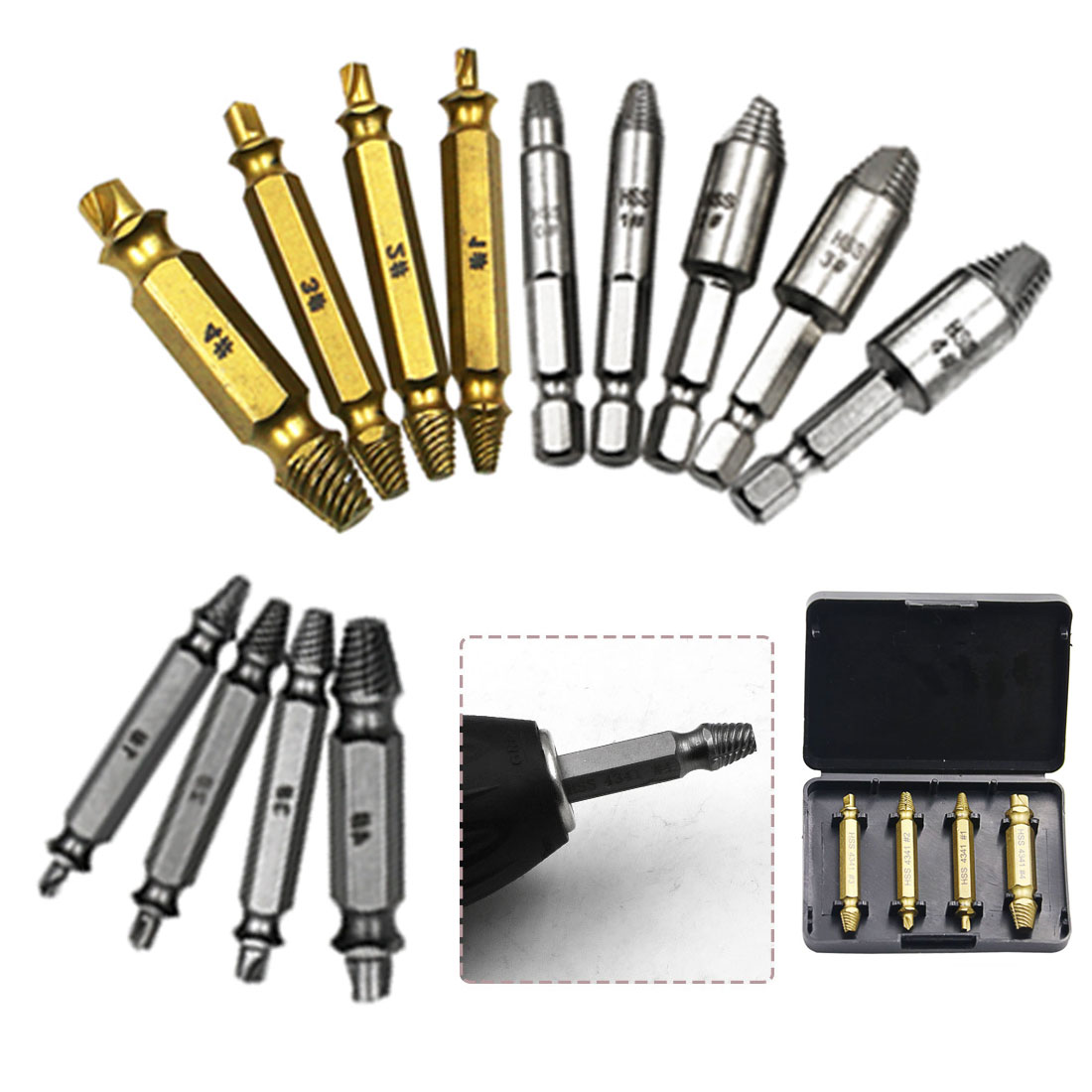 HSS 4341/S2 Out Bits Set Bolt Speed Extractor Guide Screw Silver Drill Alloy Steel Broken Gold Remover Steel Damaged 4pcs/set