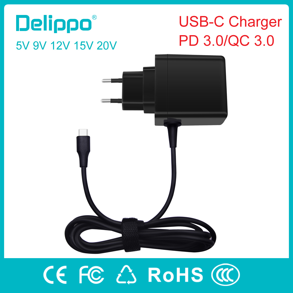 Delippo 45W USB Type C Charger Fast Type-C Wall Charger Mobile Phone PD Charger for Nintendo Switch Macbook Nexus 6P/5X Lumia950 helper 15w 45w 60w usb type c pd wall charger fast charging power adapter for huawei matebook lumia 950 950xl nexus 5x 6p