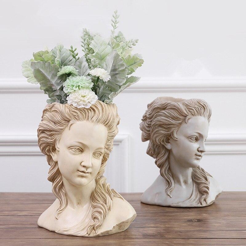 Greek Goddess Figurine Adilina Head Sculpture Flower Pot Imitation Plaster Figure Sketch Bonsai Retro Home Decoration