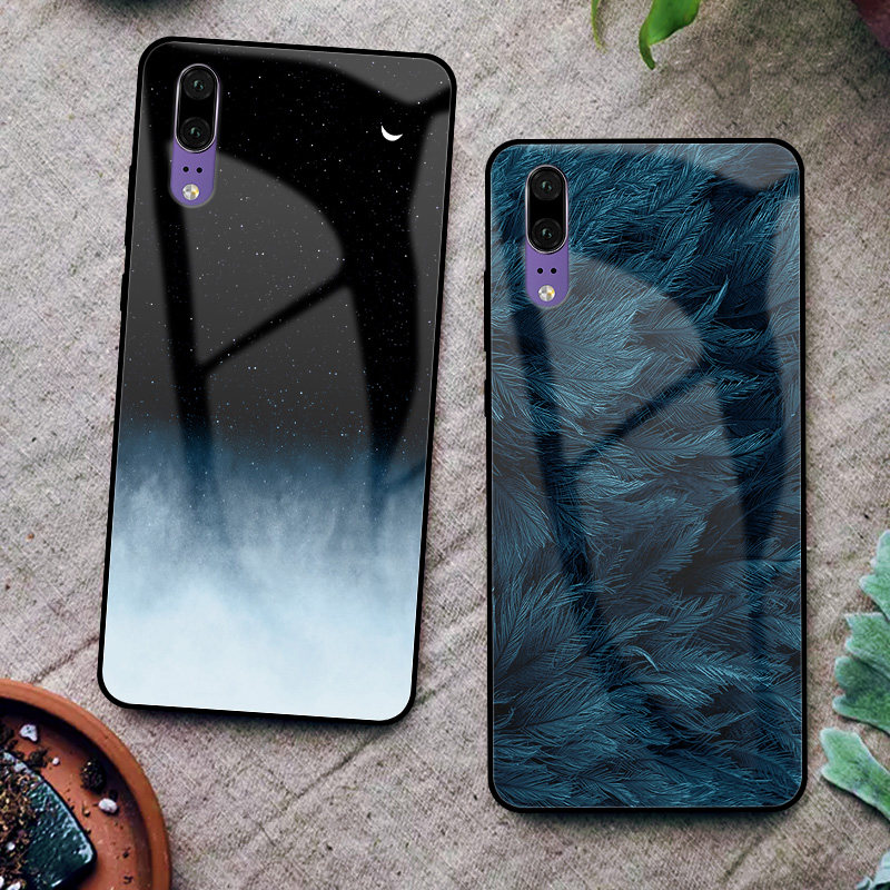 Case For Huawei P20 Lite Pro Cases Cover Back Tempered Glass Pattern For Huawei P20 Nova 3E Fundas Coque