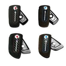 Leather carbon fiber key case keychain holder cover bag Leather m emblem keyring for BMW
