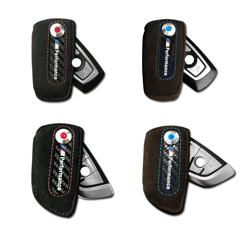 Leather carbon fiber key case font b keychain b font holder cover bag Leather m emblem