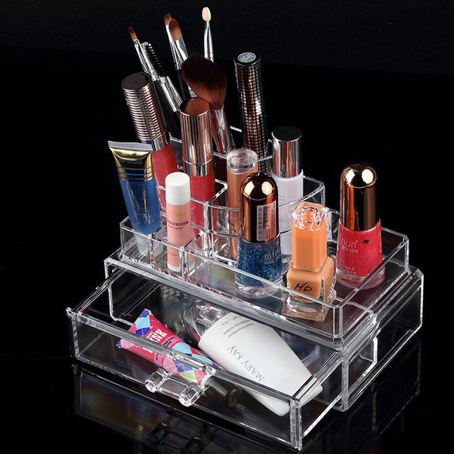 Portable Clear Acrylic Crystal Removeable Makeup Organizers Box Drawer Cosmetic Nail Polish Lipstick Brush Storage Display Stand