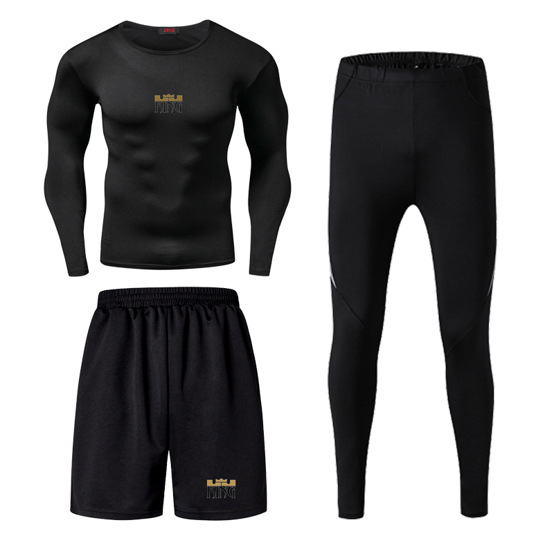 Jordan Kobe James Men Fitness Wear Tights Sportswear Basketball Training Quick Drying Three Running Clothes Gym Compression Sets - 3