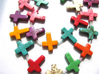 12x16mm 5strands, wholesale turquoise beads crosses pink yellow red purple blue black white assorment jewelry beads