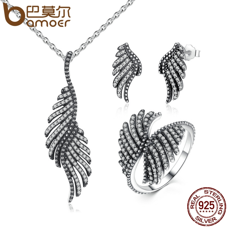 Bamoer 100% 925 sterling silver jewelry set phoenix feather silver & clear cz si