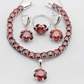Flower Simulated Red Garnet Silver Color Merry Christmas Gift Women Jewelry Sets Necklace Pendant Drop Earrings Rings  Bracelet