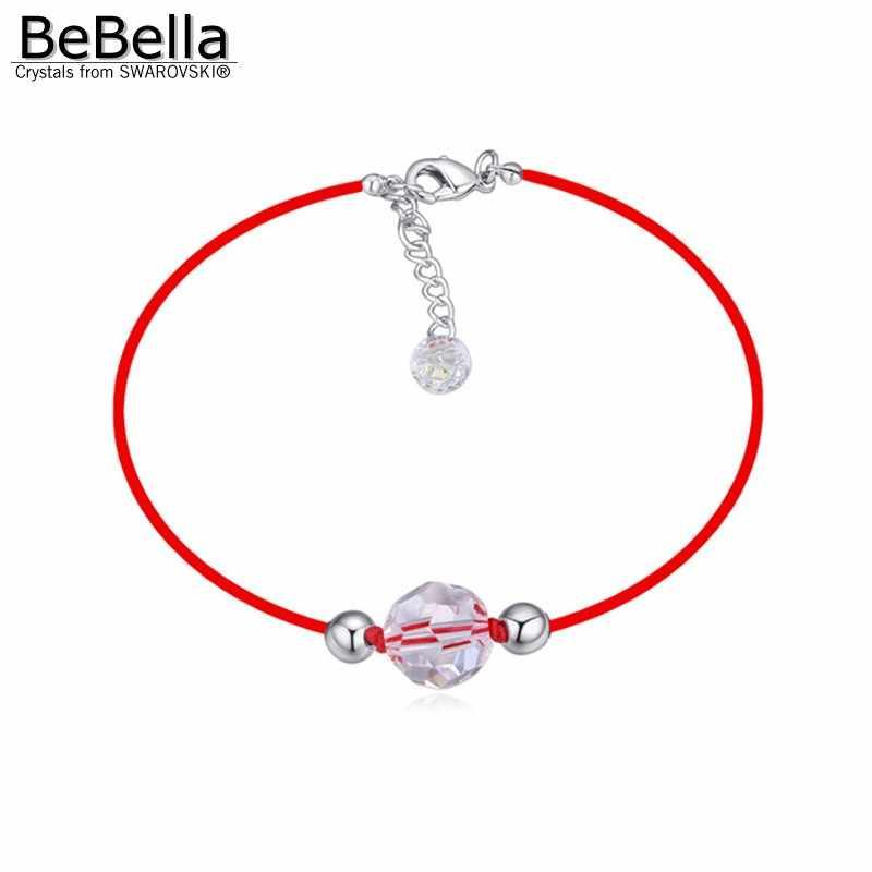BeBella новая красная веревочная цепь жемчужный браслет с австрийскими кристаллами Swarovski для девочек Рождественский подарок