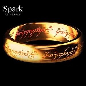 REAL Titanium Steel Hobbit Letter Rings For Men Black Stainless Steel the one ring 6MM(China)