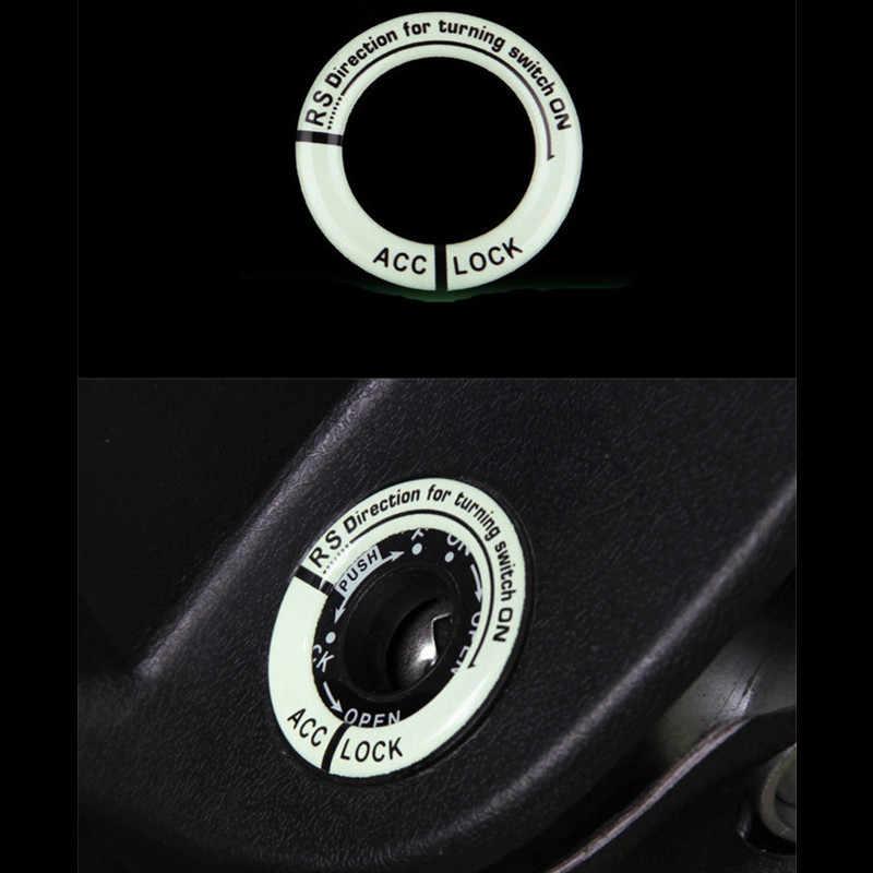 車キーリング穴ステッカーlumunous点火スイッチカバーサークルライトオートバイホンダトヨタスズキvwオペルbmw