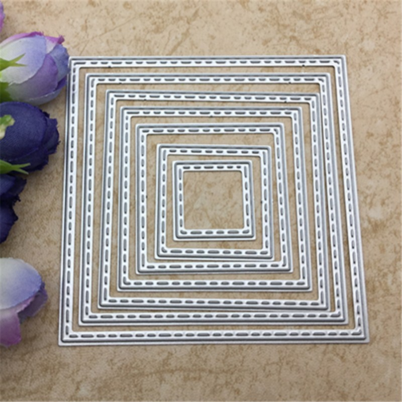 Outside In Stitched Rectangle Stackables Metal Die Cutting Dies For DIY Scrapbooking Photo Album Decorative Embossing