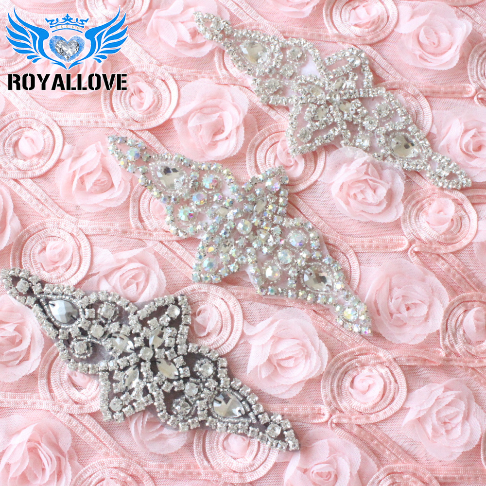 Beaded Bridal DIY Trim Diamante Motif Rhinestone Pearls Wedding Dress Applique