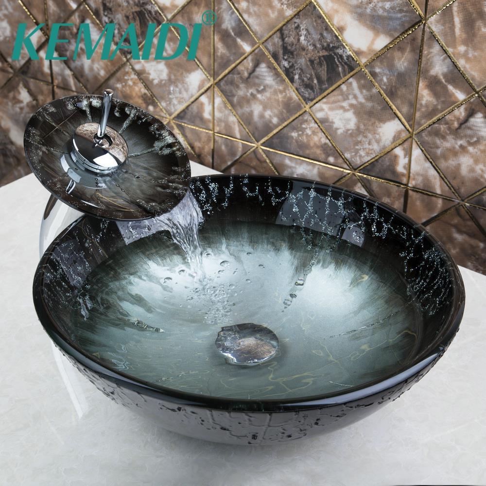 KMEAIDI Bathroom Sink Washbasin Tempered Glass Hand-Painted Waterfall Lavatory Bath Combine Brass Set Faucet,Mixers & TapsKMEAIDI Bathroom Sink Washbasin Tempered Glass Hand-Painted Waterfall Lavatory Bath Combine Brass Set Faucet,Mixers & Taps