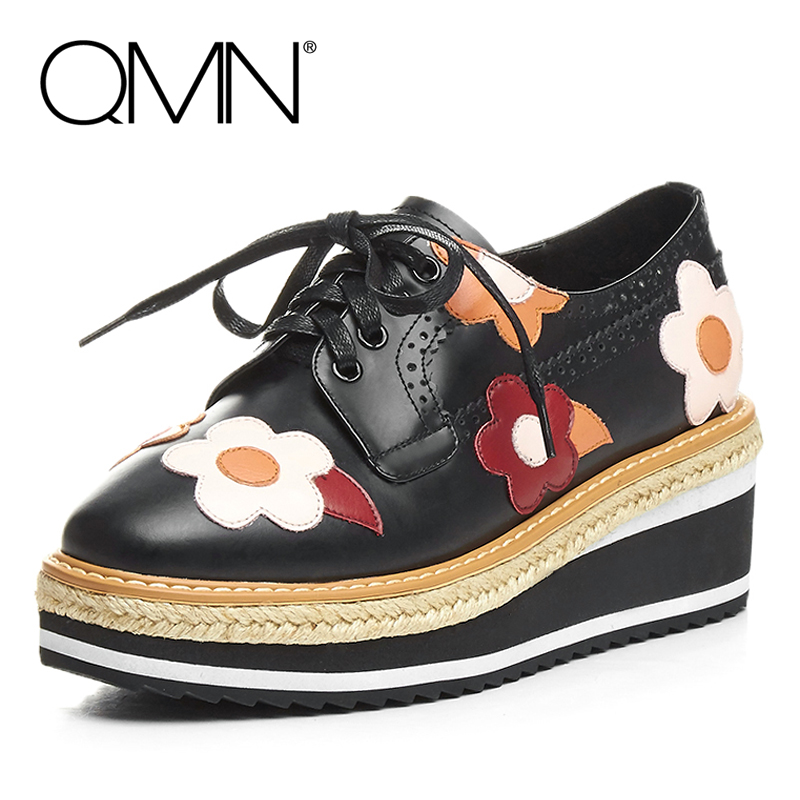 ФОТО QMN women flower-embellished leather platform brogue shoes Women Square Toe Oxfords Casual Shoes Woman Leather Espadrilles