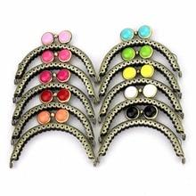 10 pcs/lot 8.5 cm semicircle antique bronze lace flat bead metal purse frame Kiss clasp bag accessories 10 colors