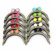10 pièces/lot 8.5 cm demi cercle antique bronze dentelle plat perle métal sac à main cadre baiser fermoir sac accessoires 10 couleurs