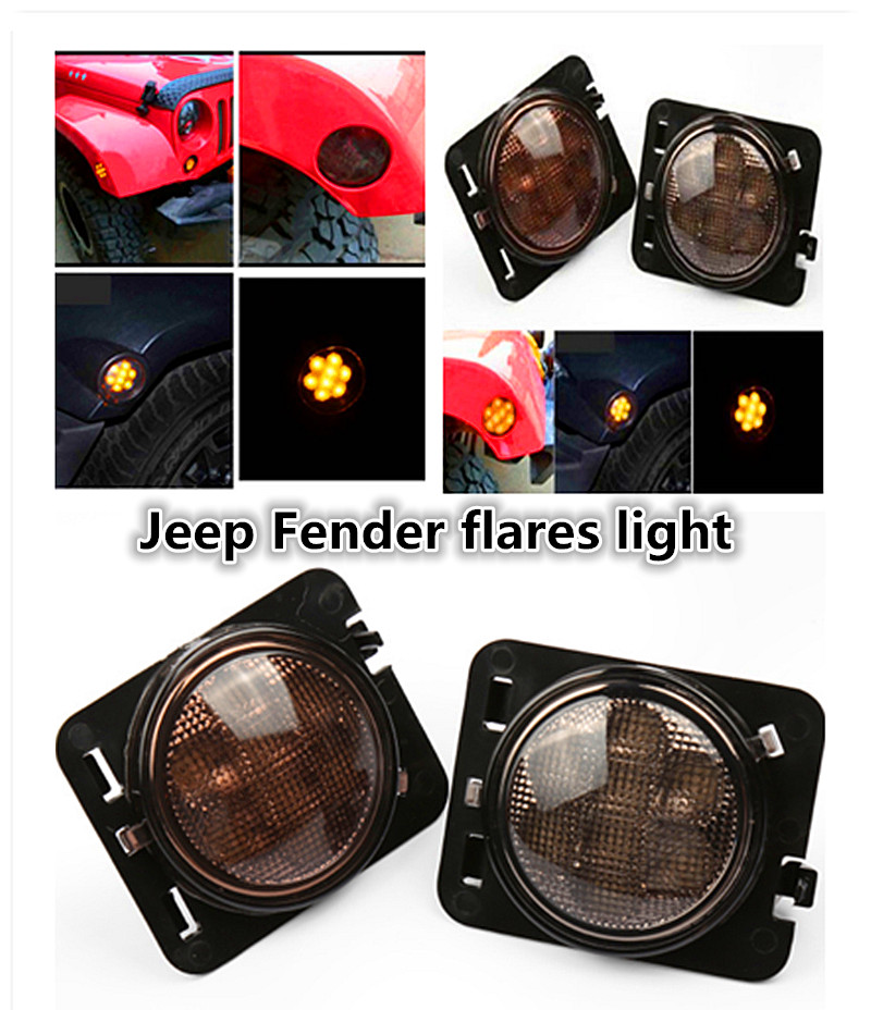 2Pcs Smoke Car Front Fender Flares Turn Signal Light Indicator LED Side Marker Lamp For Wrangler JK  Amber led light 4pcs black led front fender flares turn signal light car led side marker lamp for jeep wrangler jk 2007 2015 amber accessories