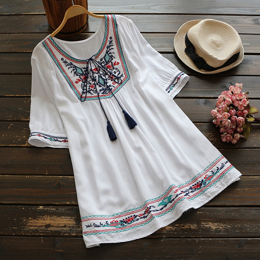 Summer Ethnic Boho Embroidery   Blouse   Women Short Sleeve Casual   Blouses     Shirt   Plus Size Women Clothing Blusas Mujer De Moda 2019