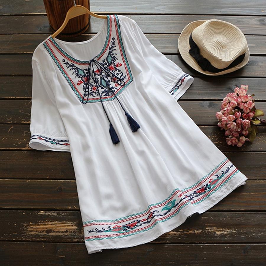 Summer Ethnic Boho Embroidery Blouse Women Short Sleeve Casu