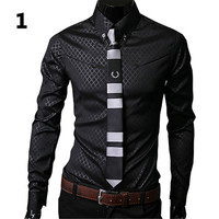 2016 New Arrival Fashion Men Argyle Luxury Business Style Slim Fit Long Sleeve Casual Dress Shirt