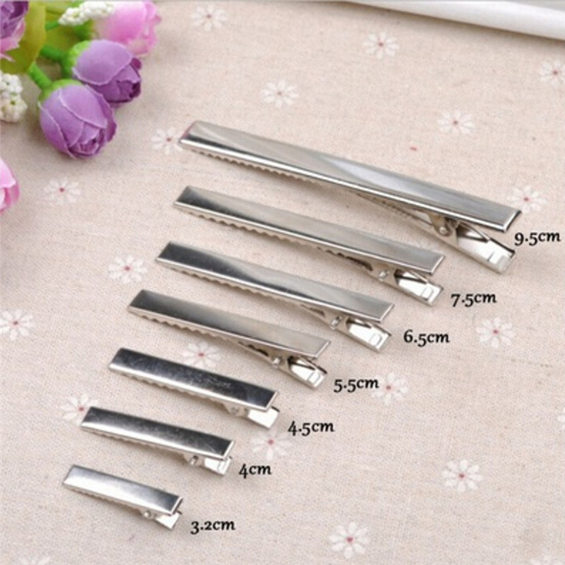 Silver Flat Metal Single Prong Alligator Hair Clips Barrette Bows DIY Accessories Hairpins Wholesale 50Pcs 32mm/35mm/40mm/45mm