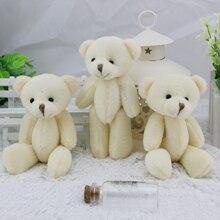 12 PCS 12 CM branco articulado Teddy Kawaii urso de pelúcia Bouquet de brinquedo presentes de casamento