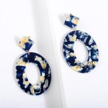2018 Fashion ZA Jewelry Acrylic Resin Oval Dangle Earrings For Women Geometry Big Circle Tortoiseshell Earrings Acetate Brincos