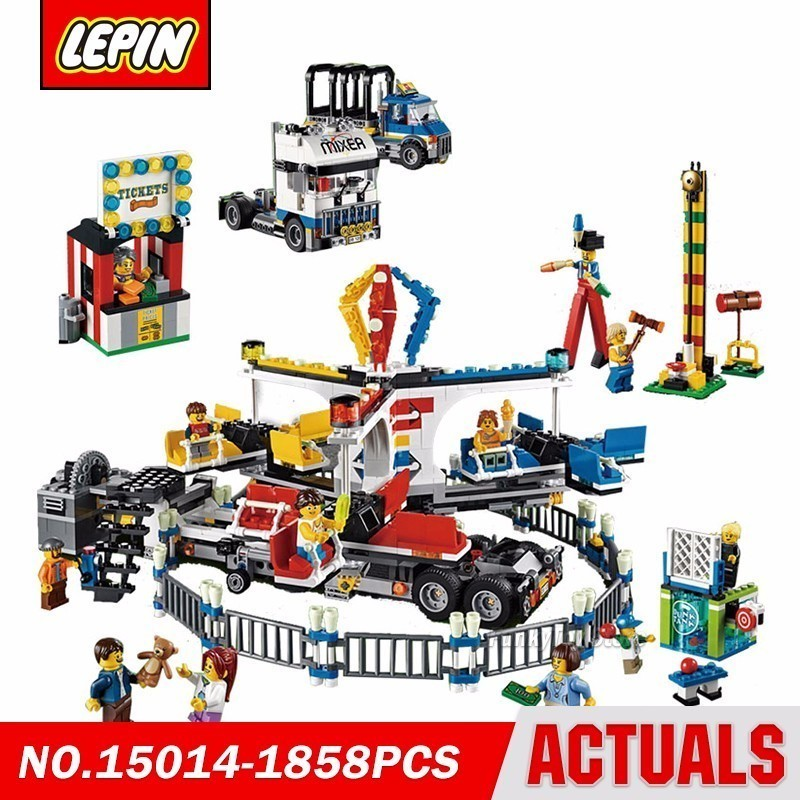 Lepin 15014 The Amusement Park 10244 City Street Series Model Building Block Brick Kits Compatible Gift Toys loz mini diamond block world famous architecture financial center swfc shangha china city nanoblock model brick educational toys