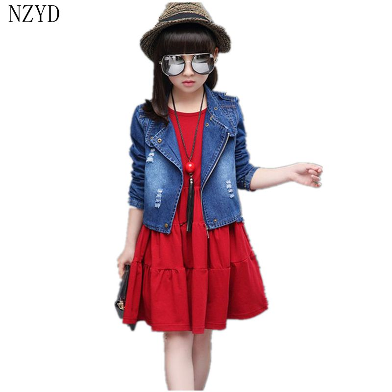 2017 New Fashion Spring Autumn Girl Two Pieces Suit Children Denim Jacket+Dress Suit Korean Casual Slim Kids Clothes DC234 цены онлайн