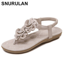 980ad9df0fb7 SNURULAN Summer new sweet woman flat sandals bohemian flowers toe sandals  women soft comfortable flip flops sandals size E436