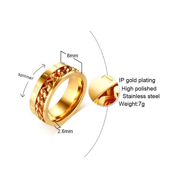 Модное мужское кольцо Спиннер ювелирные изделия кольца из нержавеющей