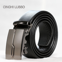 CINGHI LUSSO Leather Automatic Buckle Head Layer Cowhide Youth Business Belt Leisure Male Korean Version Men s